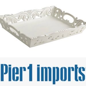 Pier 1 Distressed White Carved Wooden Tray